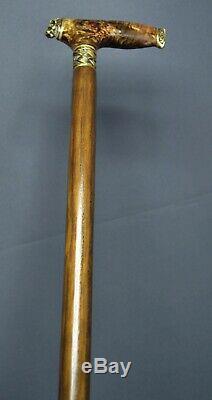 Lion Stabilized Burl Handle Wooden Handmade Cane Walking Stick Unique Exclusive