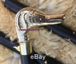 Lot Of 5 Pcs Brass Dog Head Handle Wooden Walking Stick Cane Gift