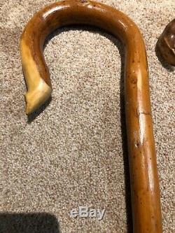 Lot Of 5 Vintage Antique Wooden Walking Sticks Canes Folk Art