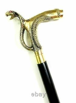Lot Of 6 Pieces Designer Head Brass Handle walking Stick leather wooden Cane New