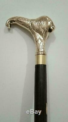 Lot Of 6 Solid Brass Designer Head Handle walking Stick leather wooden Cane Gift