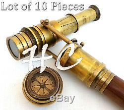 Lot of 10 Wooden Nautical Walking Stick Brass Telescope Cane With Compass Top