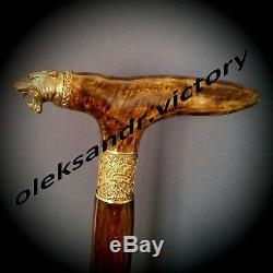 Machairodontinae BURL Wooden Handmade Cane Walking Stick Accessories BRONZE