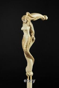 Mermaid Deluxe Walking Stick Beautiful Cane for Gift Wooden Hiking Handmade