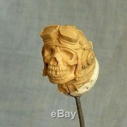 Metal walking stick cane bronze Pilot Skull brass wooden handle Air force style