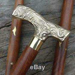 Nautical Brass Design Victorian Derby Handle Walking Stick Vintage Wooden Cane