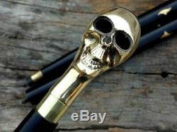 Nautical Walking Stick Wooden Shaft Cane Victorian Brass Skull Head Handle Gift