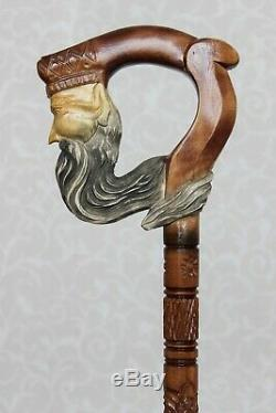 Neptune Wooden Walking Stick Cane Carved Handle