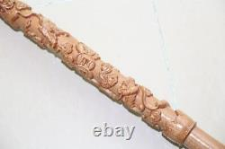New Chinese Wooden Carving dragon Walking Stick Cane 35