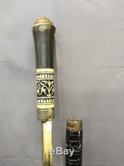 Old Sword Cane Carved Wood Walking Stick Wooden Vintage Lion's Head Handle Brass