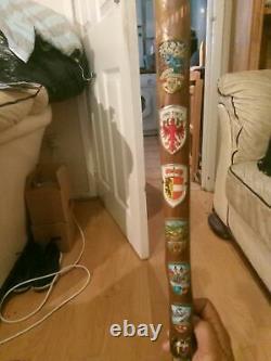 Old Vintage Wooden Walking Stick With 28 Badges