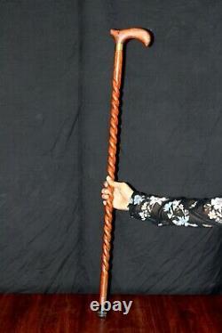 One Piece Spiral Wooden Walking Stick 36 inches Unisex Hand Carved Walking Stick