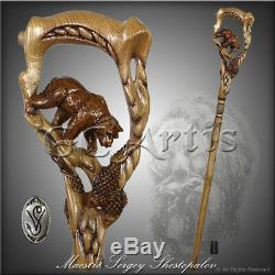 Original Walking Stick Cane Wooden Carved Crafted Grizzly Bear & Salmon GC-Artis