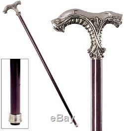 Ornate Pewter Walking Stick Cane Classic Shaft Wooden Glossy Sturdy Quality Chic