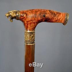 Panther Stabilized Burl Handle Wooden Handmade Cane Walking Stick Unique