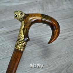 Panther Walking Stick Cane Mosaic Handle Wooden Handmade Exclusive Unique