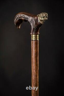 Panther Wooden Cane, Walking Stick for Gift, Hand Carved Handmade Hiking Stick