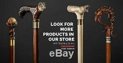 Personalized Design DARK Wolf Walking Stick for Men, Wooden Cane for Gift