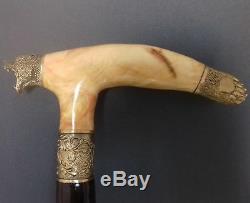 Polar bear Handmade Cane Walking Stick Wooden Burl Unique Accessories BRONZE