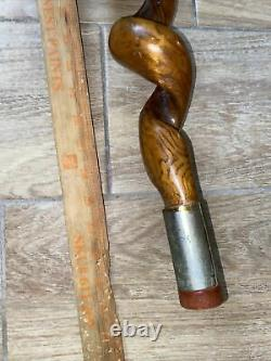 RARE VTG THICK VINE TWISTED Wooden Walking Stick WithHORN HANDLE METAL TRIM