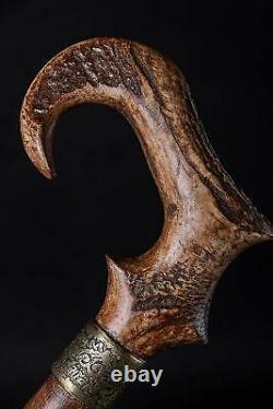 Ram Horn Walking Stick Marvelous Handmade Wooden Cane