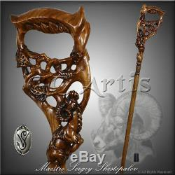 Ram Unique Wooden Walking Stick Cane Hiking Staff Hand Carved Wood Crafted MZ10
