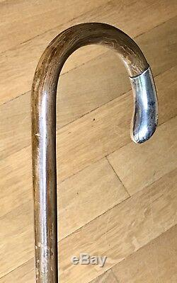 Rare Antique Birmingham 1886 Wooden Cane Walking Stick Sterling Silver Vintage