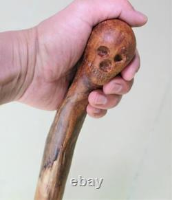 Rare Cane Wooden Skull Walking stick 35 High