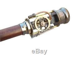 Retro Style Live Steam Engine Model Wooden Walking Cane Stick Brass Stave