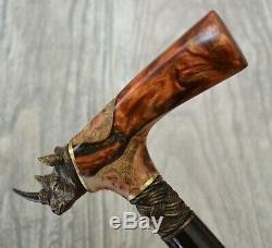 Rhinoceros Stabilized Hybrid Burl Handle Wooden Handmade Cane Walking Stick #A20