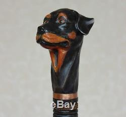 Rottweiler Walking stick Wood dog Hand carved handle Handmade wooden cane