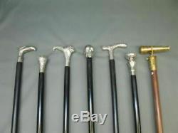 Set of 7 Vintage Brass designer Head Handle Antique Wooden Walking Stick Canes