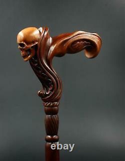 Skull Cane Wooden Walking Stick -Ergonomic Palm Grip Handle Walking cane skull T