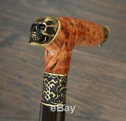 Skull Walking Cane Walking Stick Wooden Handmade Bronze Parts Stabilized Burl