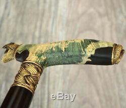 Snake Stabilized Hybrid Burl Handle Wooden Handmade Cane Walking Stick # A3