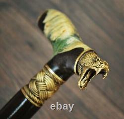 Snake Walking Cane Walking Stick Wooden Handmade Bronze Parts Stabilized Burl