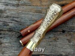 Solid Brass Design Head Handle Victorian Wooden Walking Cane Stick 3 Fold