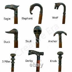Solid Brass Lot 9 Design Handle Antique Style Wooden Walking Stick Cane gift