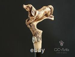 Spaniel Dog Walking Stick Cane Light Wood & black wooden shaft Antique style