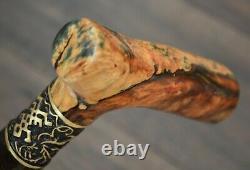 Stabilized Hybrid Burl Handle Wooden Handmade Cane Walking Stick # A 1