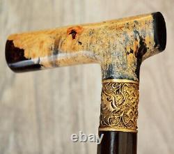 Stabilized Hybrid Burl Handle Wooden Handmade Cane Walking Stick # A11