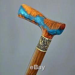 Stabilized Hybrid Burl Handle Wooden Handmade Cane Walking Stick Unique Harbor