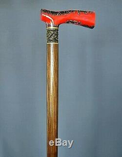 Stabilized Hybrid Burl Handle Wooden Handmade Cane Walking Stick Unique Lava
