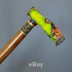 Stabilized Hybrid Burl Handle Wooden Handmade Cane Walking Stick Unique Toxik