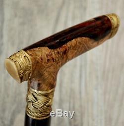 Teuton Stabilized Hybrid Burl Handle Wooden Handmade Cane Walking Stick # A 7