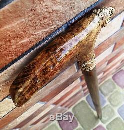 Tiger Cane Walking Stick Wooden BURL Handmade Men's Accessories NEW