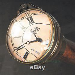 Time Companion Walking Stick with Clock Wooden Gentleman's Watch Hiking Cane New