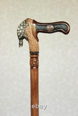 Turtle Hand carved Wooden cane Walking stick with craft handle