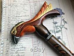 Ukrainian hand carved walking stick parrot walking cane handle Wooden cane bird