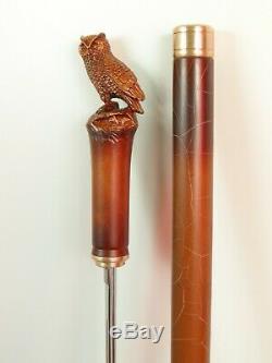 Unique Hand Carved Wooden Walking Stick Canes for Men open Handle knife